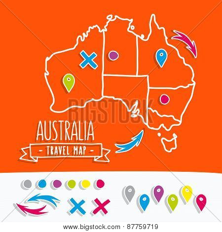 Hand drawn Australia travel map with pins vector illustration