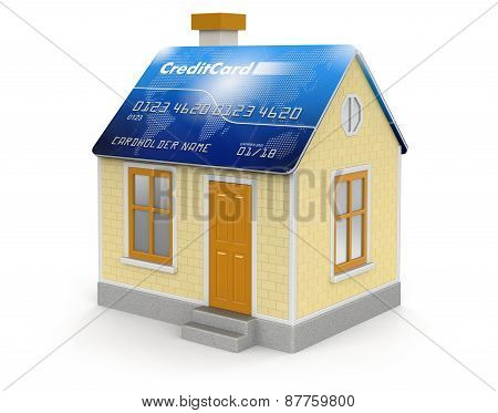 House and Credit Card (clipping path included)