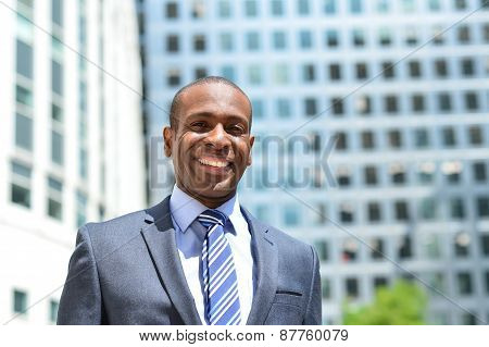 Happy Businessman Posing At Outdoors