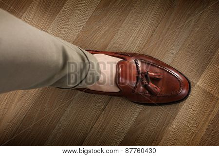 Sockless Leg In Pants And Loafer