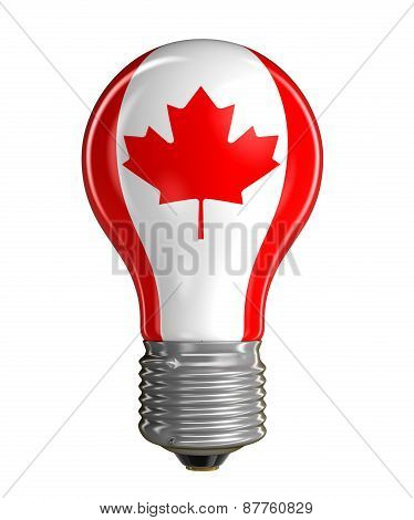 Light bulb with Canadian Flag (clipping path included)