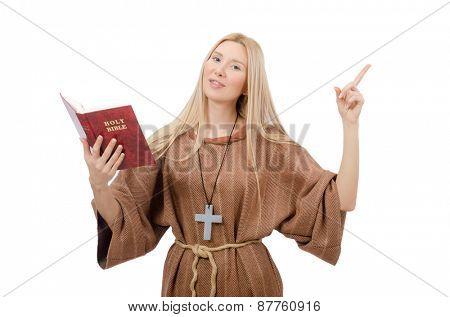 Female prayer isolated on white