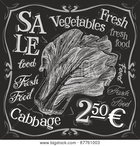 cabbage vector logo design template. fresh food, vegetables  or menu board icon.