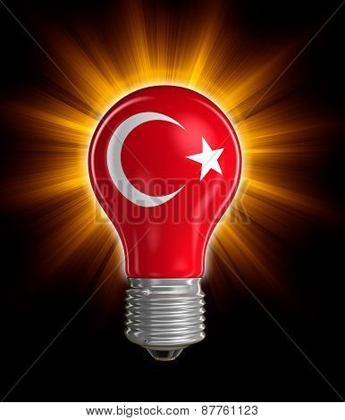 Light bulb with Turkish flag (clipping path included)
