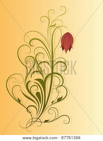 Abstract decorative flower on yellow background illustration.