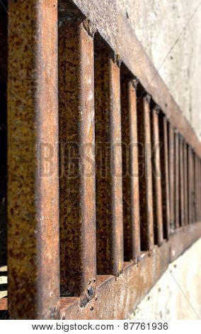 Rusty metal grille