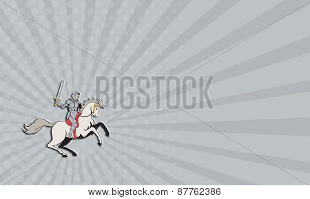 Business Card Knight Riding Horse Sword Cartoon