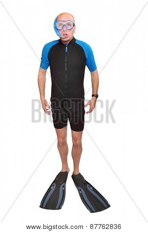 Scuba diver with diving mask, wetsuit and flippers isolated on a white background.