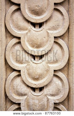 Architectural detail. Carved overlap pattern, ancient stonemasonry.
