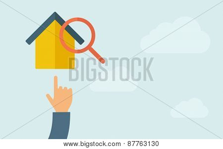 A hand pointing to house with magnifying glass. A contemporary style with pastel palette, light blue cloudy sky background. Vector flat design illustration. Horizontal layout with text space on right