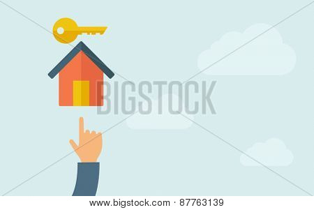 A hand pointing to house key icon. A contemporary style with pastel palette, light blue cloudy sky background. Vector flat design illustration. Horizontal layout with text space on right part.