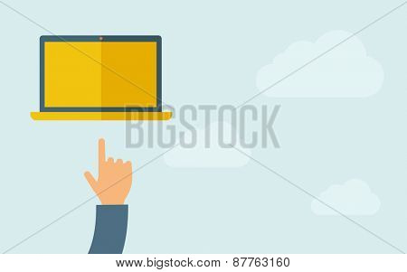 A hand pointing to blank screen of laptop. A contemporary style with pastel palette, light blue cloudy sky background. Vector flat design illustration. Horizontal layout with text space on right part.