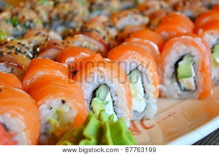 Delicious rolls and sushi with eel, salmon and philadelphia