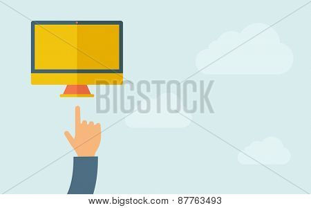A hand pointing to monitor with blank screen. A contemporary style with pastel palette, light blue cloudy sky background. Vector flat design illustration. Horizontal layout with text space on right