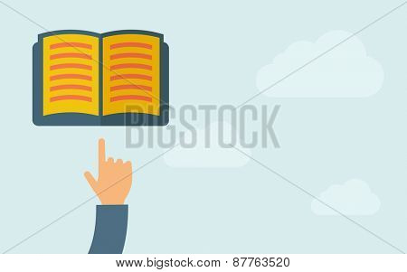 A hand pointing to book icon. A contemporary style with pastel palette, light blue cloudy sky background. Vector flat design illustration. Horizontal layout with text space on right part.