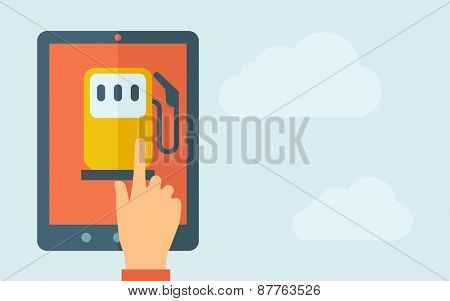 A hand is touching the screen of a tablet with gasoline pump icon. A contemporary style with pastel palette, light blue cloudy sky background. Vector flat design illustration. Horizontal layout with