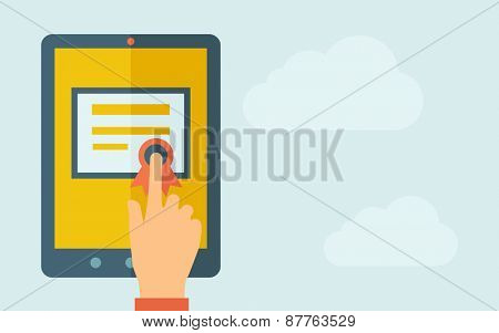 A hand is touching the screen of a tablet with certificate icon. A contemporary style with pastel palette, light blue cloudy sky background. Vector flat design illustration. Horizontal layout with
