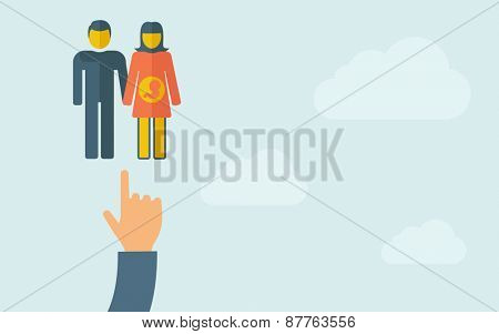 A hand pointing to a couple with pregnant woman . A contemporary style with pastel palette, light blue cloudy sky background. Vector flat design illustration. Horizontal layout with text space on
