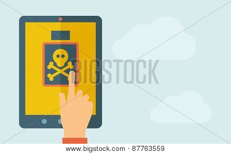 A hand is touching the screen of a tablet with poisonous bottle icon. A contemporary style with pastel palette, light blue cloudy sky background. Vector flat design illustration. Horizontal layout