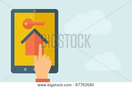 A hand is touching the screen of a tablet with house with key icon. A contemporary style with pastel palette, light blue cloudy sky background. Vector flat design illustration. Horizontal layout with