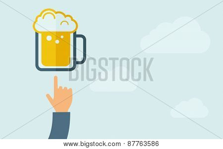 A hand pointing to beer mug icon. A contemporary style with pastel palette, light blue cloudy sky background. Vector flat design illustration. Horizontal layout with text space on right part.