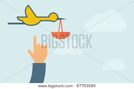 A hand pointing to bird carrying bag icon. A contemporary style with pastel palette, light blue cloudy sky background. Vector flat design illustration. Horizontal layout with text space on right part.