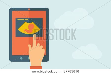 A hand is touching the screen of a tablet with ultrasound icon. A contemporary style with pastel palette, light blue cloudy sky background. Vector flat design illustration. Horizontal layout with text