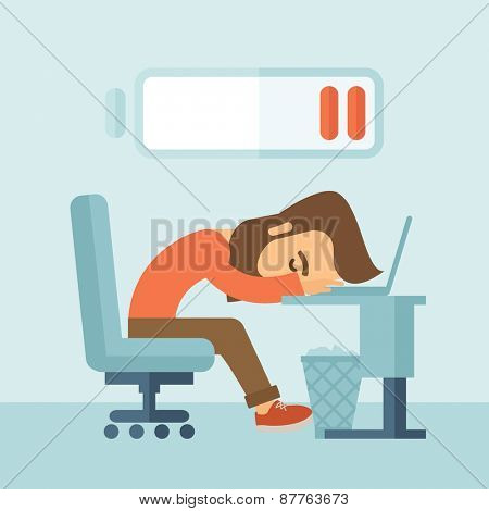Young tired employee sitting, lying on his table with low power sign on the top of his head need rest, vacation, holiday. A contemporary style with pastel palette, soft blue tinted background. Vector