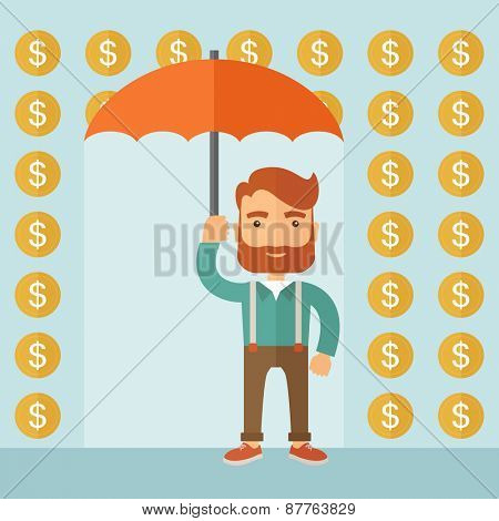 A lucky successful businessman standing with umbrella with under a rain of dollar coin. Business concept. A contemporary style with pastel palette, soft blue tinted background. Vector flat design