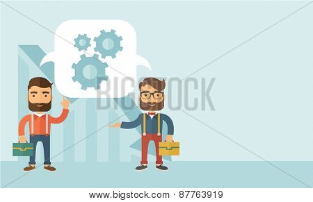 Two Caucasian men carrying bags thinking a new business in logistics. Brainstorming, speech bubble gears. Teamwork concept.  A contemporary style with pastel palette, soft blue tinted background