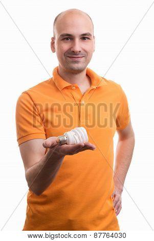 Man Holding An Energy Saving Light Bulb