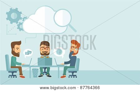 Three Caucasian businessmen with beard sitting on chair working together using cellphone and laptops for calling and searching an ideas for business plan.  A Contemporary style with pastel palette