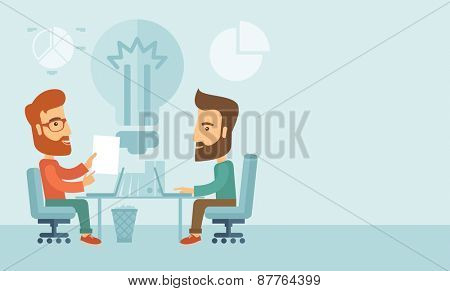 Two businessmen sitting working together getting a brilliant ideas from internet using their laptop. A contemporary style with pastel palette, soft blue tinted background. Vector flat design