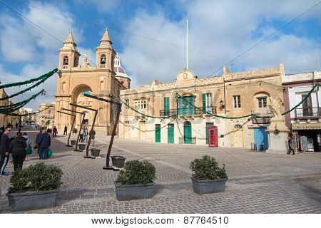 MARSAXLOKK, MALTA - JANUARY 11, 2015: Parish Church of Our Lady of Pompei. Today it is the venue of national pilgrimage every year on 8th May.