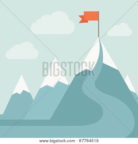 A mountain with red flag on top of it. A Contemporary style with pastel palette, soft blue tinted background with desaturated clouds. Vector flat design illustration. Square layout.