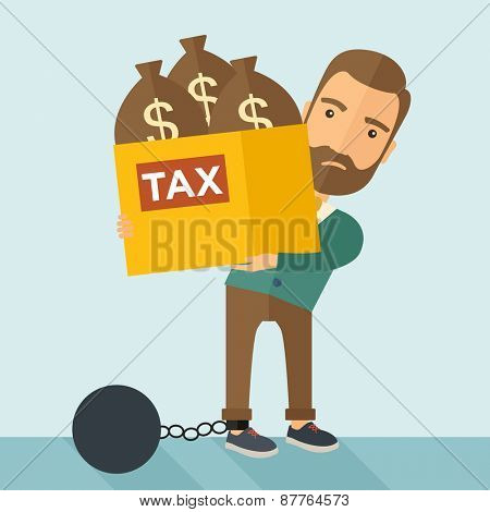 A Caucasian businessman locked in a debt ball in chain for commiting crime in tax ivasion. Debt concept. A Contemporary style with pastel palette, soft blue tinted background. Vector flat design