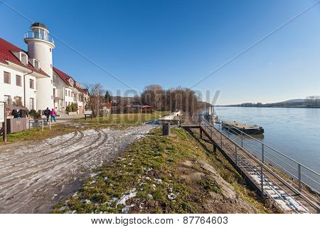 BRATISLAVA, SLOVAKIA - JANUARY 6, 2015: Lighthouse near Devin castle at the confluence  of rivers Morava and Danube.