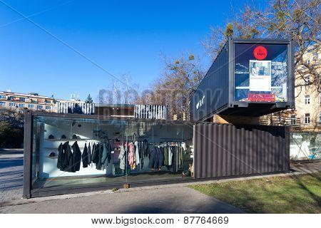 BRATISLAVA, SLOVAKIA - JANUARY 6, 2015: Shop-case on the street of Bratislava.