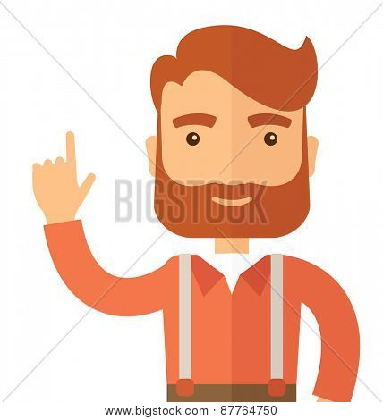 A Caucasian young successful man happy raising his one arm showing that he is number one. Winner concepA contemporary style. Vector flat design illustration with isolated white background. Square