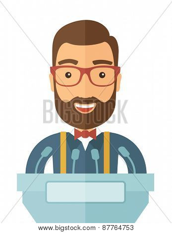 A hipster Caucasian speaker delivers a speech at the podium with a microphone. Wide and expressive gestures of the speakerA Contemporary style. Vector flat design illustration with isolated white
