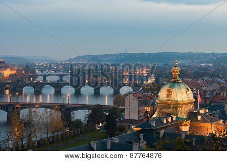 Prague Bridges In The Evening