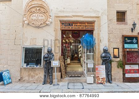 MDINA, MALTA - JANUARY 12, 2015: Entrance to Tales of the silent city, popular audio visual show.