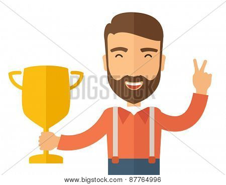 A Caucasian businessman proudly standing on the winning podium holding up winning trophy and showing an arrow pointing upward as his success. Winner concept. A contemporary style. Vector flat design