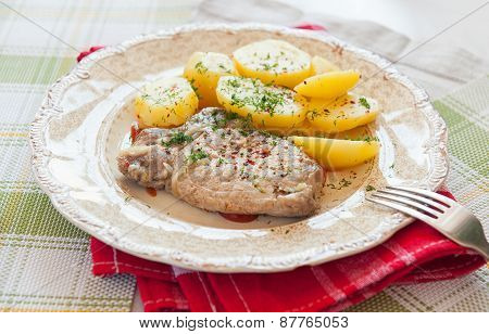Meat And Boiled Potatoes