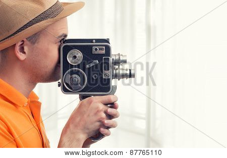 Man With Retro Camera