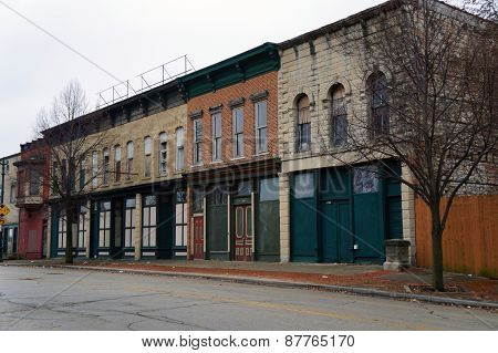 Boarded-up store fronts in Joliet, Illinois