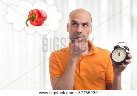 Lunch Time. Man Dreams About Food