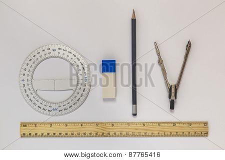 Ruler, Compasses, Eraser, Protractor, Pencil
