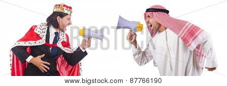 Arab man and king are shouting through loudspeaker isolated