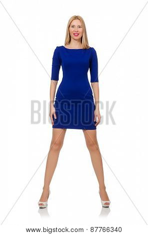 Beautiful lady in dark blue dress isolated on white